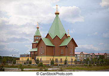 Modern Christian wooden church