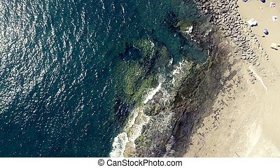 Overhead view of Las Americas Beach in Tenerife, Spain.