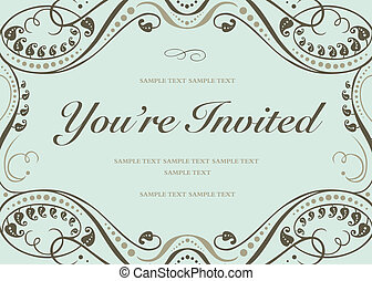 Vector Blue Invitation Background - Vector swirl floral...