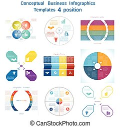 Set Infographics conceptual cyclic processes four positions...