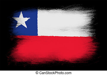 The Chile flag - Painted grunge flag, brush strokes....