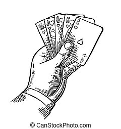 Royal flush in hearts. Male hand holding a game card. Vector...