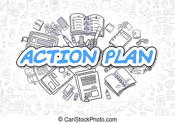 Action Plan - Cartoon Blue Word. Business Concept. - Action...