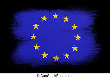 The European Union Flag - Painted grunge flag, brush...