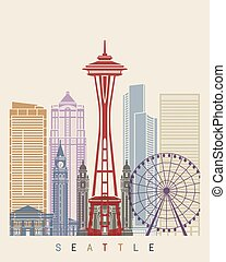 Seattle skyline poster in editable vector file