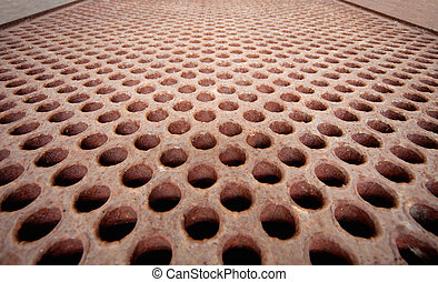 Rusty metal lattice - heat exchanger - Rusty metal lattice...