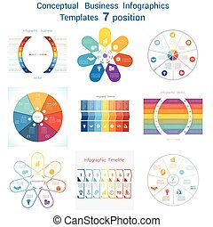 Set templates Infographics for seven positions text area