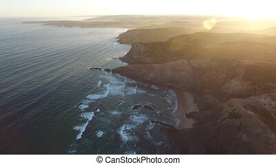 Video seascape, from the air. Costa Vicentina, Alentego...