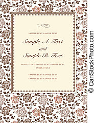 Vector Fall Rose Frame - Vector swirl frame with sample...