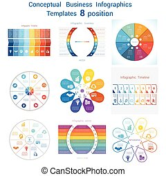 Set templates Infographics for eight positions text area -...