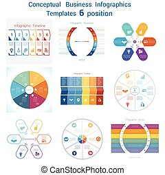 Set templates Infographics for six positions text area - Set...