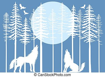 Howling wolf in fir tree forest, vector - Howling wolf in...