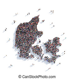 people group shape map Denmark - Large and creative group of...