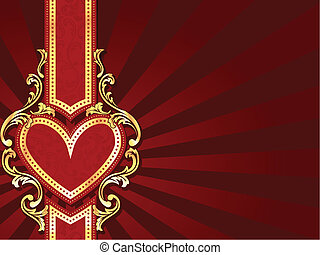 Horizontal heart-shaped red banner - stylish red banner with...