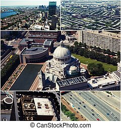 Aerial view of Boston, MA, USA Collage of photos