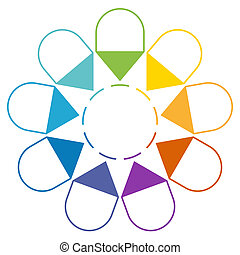Arrows arranged in circle 9 positions - Infographic 9...