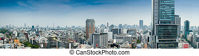 Aerial panoramic view of Tokyo buildings from Shibuya...