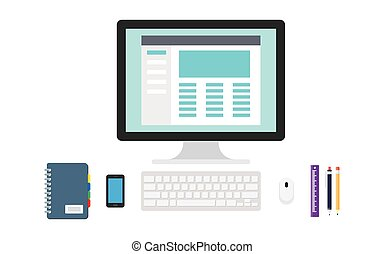 Blogging concept in flat design style. Blogging and writing...