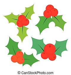 Set of Christmas holly leaves. Vector illustration -...