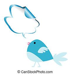 azul, pájaro, charla, burbuja