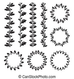 Silhouette oak wreaths in different shape