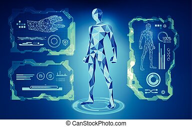 robot - scientific interface; futuristic backdrop; abstract...