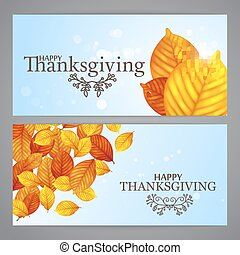 Happy Thanksgiving background templates. Orange leaves on...