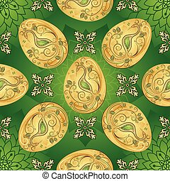 Easter seamless green pattern with golden eggs and vintage...