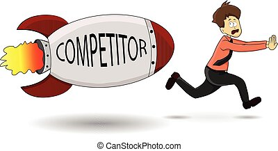 cartoon business running chasing by missille