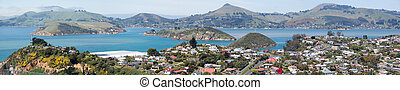 Dunedin Suburb Panorama - The panoramic view of Port...