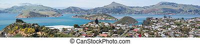 Dunedin Suburb Panorama - The panoramic view of Port...