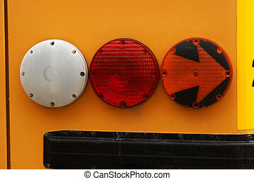 School Bus Signal Lights - Closeup view of a school buses...