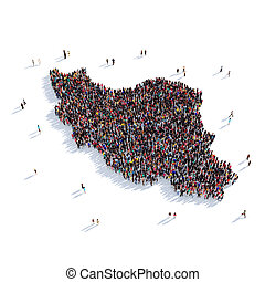 people group shape map Iran - Large and creative group of...