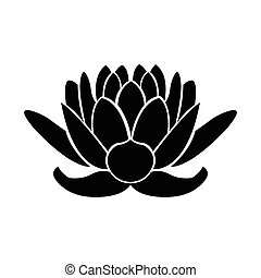 Spa icon - Isolated silhouette of a lotus, Spa icon Vector...