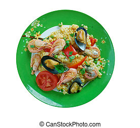 Mexican dish prepared with white rice and seafood. - Arroz a...