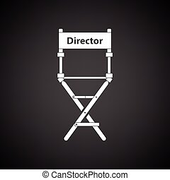 Director chair icon. Black background with white. Vector...