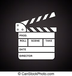Movie clap board icon. Black background with white. Vector...