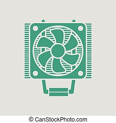CPU Fan icon. Gray background with green. Vector...