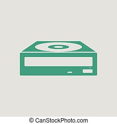 CD-ROM icon. Gray background with green. Vector...