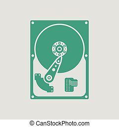HDD icon. Gray background with green. Vector illustration.