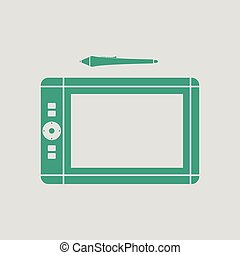 Graphic tablet icon. Gray background with green. Vector...