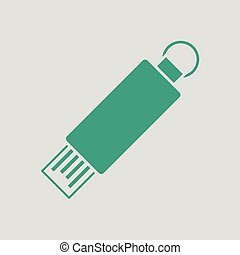 USB flash icon. Gray background with green. Vector...