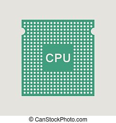 CPU icon. Gray background with green. Vector illustration.