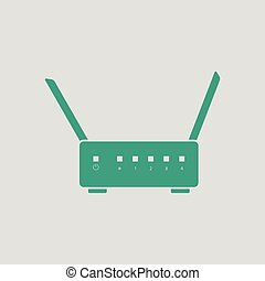 Wi-Fi router icon. Gray background with green. Vector...