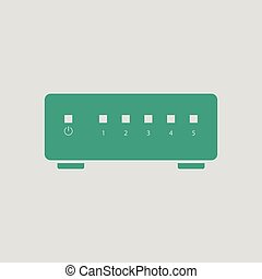 Ethernet switch icon. Gray background with green. Vector...