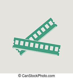 Computer memory icon. Gray background with green. Vector...