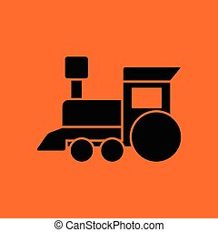 Train toy ico. Orange background with black. Vector...