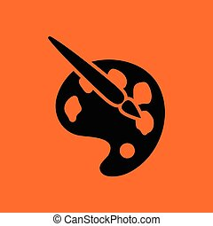 Palette toy ico. Orange background with black. Vector...