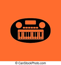 Synthesizer toy ico. Orange background with black. Vector...