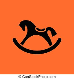 Rocking horse ico. Orange background with black. Vector...